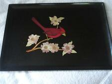 VINTAGE COUROC LARGE TRAY INLAID CARDINAL AND FLOWERS
