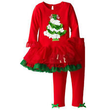 Baby Girls Kids Christmas 2PCS Long Sleeve Dress tops Clothes +Pants Outfits Set