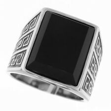 Synthetic Jet Black Onyx Stone Silver Stainless Steel Mens Ring