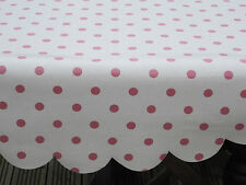 NEW ROUND RECTANGULAR WIPEABLE CREAM PINK POLKA DOT TABLE CLOTH  OIL CLOTH