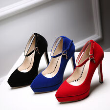 AU Size Faux Suede Pumps Ankle Strap Sexy Pointed Wedding Formal Lady Shoes s615