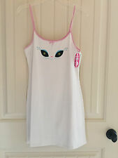 Authentic FRENCH KITTY cat eyes white chemise night gown sleep shirt dress