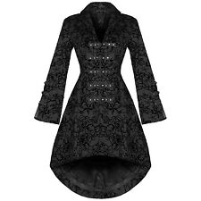 Womens New Black Gothic Steampunk Military Rockabilly Flocked Tattoo Coat