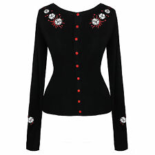 Black Red Kitsch Dice Rockabilly Psychobilly Pinup Tattoo Cardigan Top