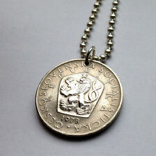 Czechoslovakia 5 Korun coin pendant Czech rampant LION necklace jewelry n001017