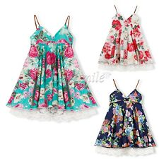 Baby Kid Girls Summer Floral Dress Girl Pageant Wedding Dresses Lace Flower