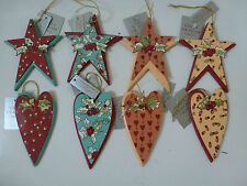 Gisela Graham Wooden and Tin Printed Heart Christmas Dec (4 asst)