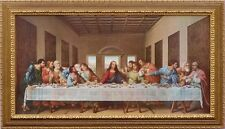 Da Vinci The Last Supper   Custom Framed Canvas Replica in a antique Style Gold