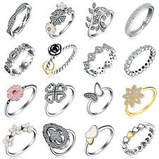 10kt filled European silver CZ ring charm Women rings lady band Fit gift SIZE7-8