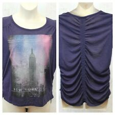 Style&co Top Empire State Building Ruched Short Sleeve Purple Plus 1X 2X NWT P1
