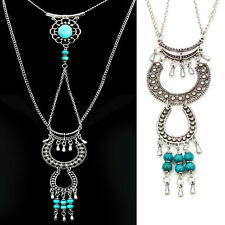 Womens Vintage retro Turquoise Tassel Charms Long necklace Sweater Chain