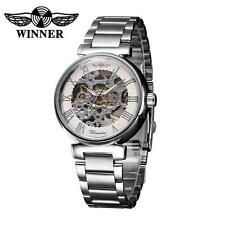 WINNER Mens Mechanical Wrist watch Stainless Steel Band Analog Dial Display V4Q7
