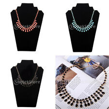 Gold chain Resin Gem Rhinestone Bib Chunky fashion Statement Choker Necklace New