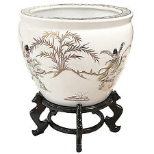 White With Mother of Pearl Chinese Oriental Fish Bowl And Stand