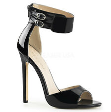 "PLEASER SEXY-19 Women's 5"" Heel Closed Back Dual Buckled Ankle Strap Sandals"