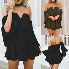Women Sleeveless Backless Deep V Playsuit Jumpsuit Romper Party Dresses Clubwear