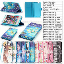Hot Luxury 3D Patterned Flip Stand Leather Wallet Phone Case Cover w/ Hand Strap