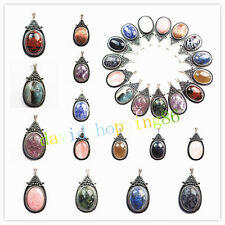 YD1038 Wholesale ! Gorgeous Tibet silver Inlay Mixed Gemstone Oval Pendant Bead