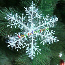 9/15/30Pcs Classic White Snowflake Ornaments Christmas Holiday Party Home Decor