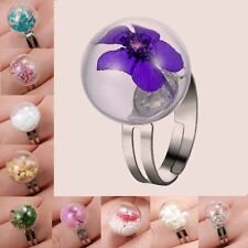 Natural Real Flower Pearl Dandelion Seeds Wish Glass Ball Adjustable Rings Hot