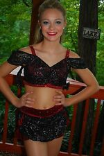 Black & red custom competition dance costume Latin Salsa Jazz MT CM CL