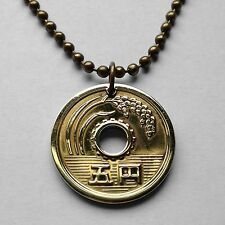 Japan ¥5 Yen coin pendant Japanese necklace GOOD LUCK CHARM rice stalk n000096