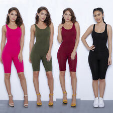 Sexy Womens Backless Bodycon Mid Short Jumpsuit Romper Club Sleeveless Bodysuit