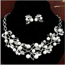 Women imitation Pearl Necklace Stud Earrings Foliage Silver Plated Jewelry Sets