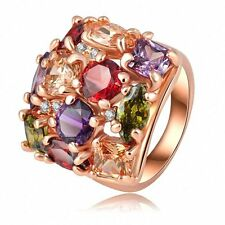 Colorful 18K Rose Gold Filled Topaz Gemstone Ring Women Lady Engagement Jewelry