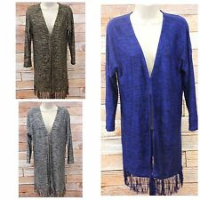 Cable & Gauge Tunic Cardigan Sweater Fringe Hem Blue Brown Medium XLarge NWT W3
