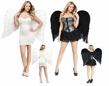 """31"""" Feather White Heavenly Angel Wings Dark Gothic Black Adult Costume Accessory"""