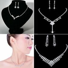 Wedding Bridal Silver Womens Rhinestone Crystal Earrings Necklace Set Jewelry