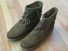 WOMENS MINNETONKA MOCCASIN - DOUBLE FRINGE SIDE ZIP BOOT DUSTY BROWN 693