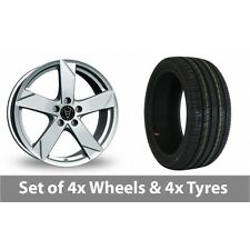 "4 x 17"" Wolfrace Kodiak Polar Silver Alloy Wheel Rims and Tyres -  205/50/17"