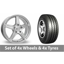 """4 x 15"""" Dezent Silver Alloy Wheel Rims and Tyres -  225/70/15"""