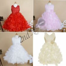 Flower Girl Princess Party Pageant Wedding Bridesmaid Tutu Layered Gown Dress