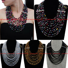 Fashion Jewelry Chain Rhinestone Crystal Chunky Statement Pendant Bib Necklace