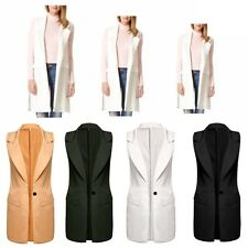 Fashion Women Long Sleeveless Jacket Lapel Slim Gilet Casual Cardigan Vest Tops