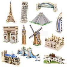 DIY Architectural Building Model Wooden 3D Puzzle Jigsaw Kids Educational Toy