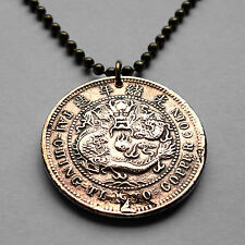 1906 China 1 Cash coin pendant Chinese DRAGON necklace Hupei Province n001335