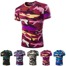 New Stylish Mens Crew Neck Camouflage Casual T-Shirt Short Sleeve Slim Fit Tops