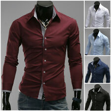 Hot Fashion Mens Luxury Long Sleeve Casual Slim Fitted New Stylish Dress Shirts