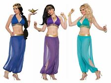 Arabian Nights Harem Pants Sexy Women's Costume Jasmine Genie Purple Blue Green