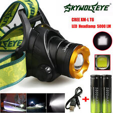 5000LM CREE XM-L T6 LED Headlamp Headlight Head Light+2xRechargeable USB Battery