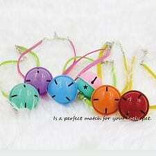 1PC Pet Large Bell Collar Dog Cat PU Suede Leather with Buckle Cute Mixed Color