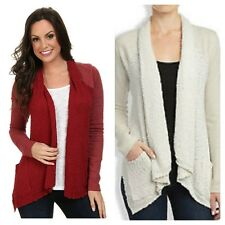 Lucky Brand Lucky Lotus Shawl Cardigan Sweater Pockets Red White Small NWT