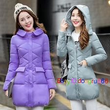 Hot Women Winter Warm Down Jacket Cotton Hooded Fur Collar Parka Coat Outerwear