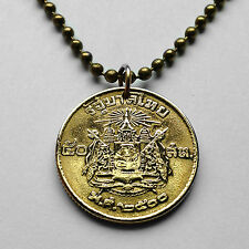 Thailand 50 satang coin pendant Thai necklace Siam arms Airavata temple n000562