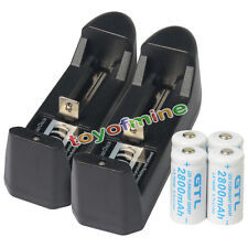 4x 16340 CR123 3.7V 2800mAH GTL Li-ion Rechargeable Battery Cell + 2x Charger