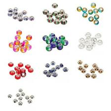 10Pcs Resin Crystal Lampwork Dangle Charms Beads Silver Mix COLOURS VARY DIY